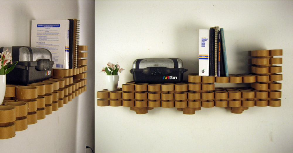 A decorative shelf made out of old cardboard paper